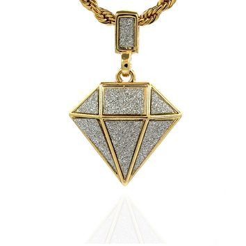 Gold Plated Diamond Stardust Shaped Hip-Hop Pendant Chain