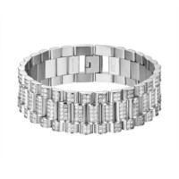 Iced Out Presidential Link Bracelet Stainless Steel Silver Tone 21 MM Mens