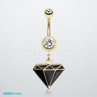 Golden Diamond Cut Belly Ring