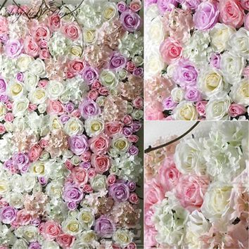 DIY silk artificial rose flower head hotel background wall decoration DIY Road led wedding flower Bouquet home party decor 11pcs