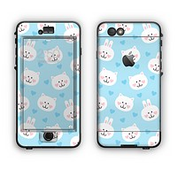 The Subtle Blue & White Faced Cats Apple iPhone 6 Plus LifeProof Nuud Case Skin Set