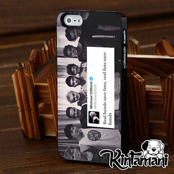 Real Band 5 SOS One Direction Only For iPhone 4 4s 5 5s 5c iPod Touch 2 4 5 Samsung Galaxy s3 i9300 s4 i9500 s5 i9600 Black White