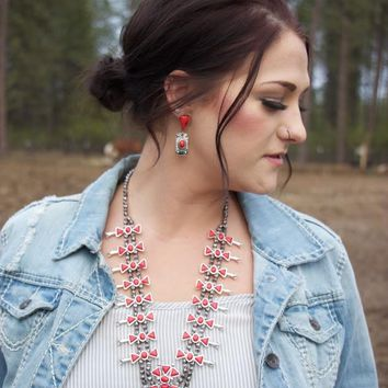 The Red Buffalo -Squash Blossom Necklace