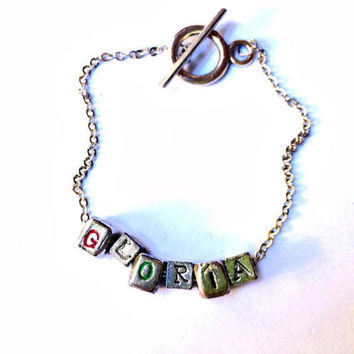 Letter Blocks Bracelet: custom name