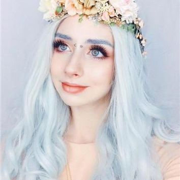 Mint Green Long Wave Synthetic Lace Front Wig