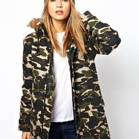 Carhartt Camo Parka With Faux Fur Trimmed Hood
