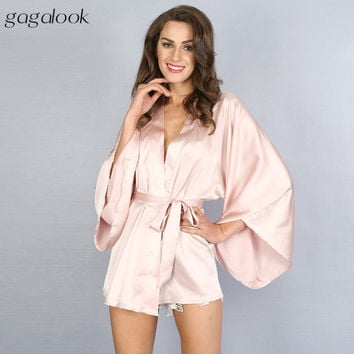 Gagalook 2016 Faux Satin Nightgown Sexy Wrap Robe Women's Sleepwear with Sashes HC0040