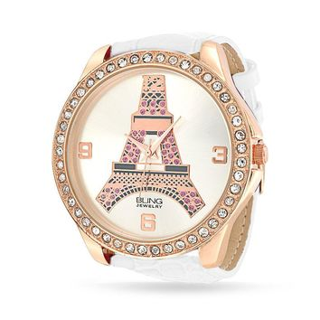 Eiffel Tower Paris Dial Rose Gold Plated Watch Crystal Leather Band