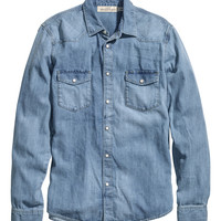 H&M - Denim Shirt - Light denim blue - Men
