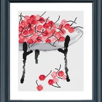 Cross Stitch Pattern, Cherries Painting, Cross Stitch Pattern Modern, Simple Cross Stitch Pattern, Cross Stitch Chinese