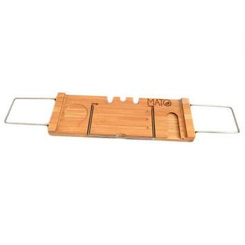 Bamboo Extendable Shower Bathtub Caddy Tray with Reading Rack, Soap Holder and Wine Holder