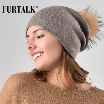 FURTALK Real Fur Pompom Hat for Women Winter Knitted Beanie Hats for Girls Slouchy Hat AD011