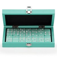 Bling Domino Set With Aquamarine Lacquer Case | Travel | Accessories | Decor | Z Gallerie