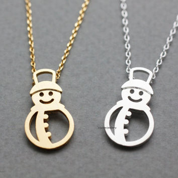 Holiday necklace snowman necklace, winter jewelry, white snow holiday jewelry, Christmas gift in 2 colors, N0783G