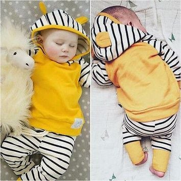 Newborn Toddler Kids Baby Boys Girls Autumn Winter Outfits Clothes Set ChildrenT-shirt Tops+Pants 2PCS Set