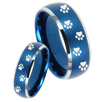 His Her Satin Blue Dome Paw Print Design Two Tone Tungsten Wedding Rings Set