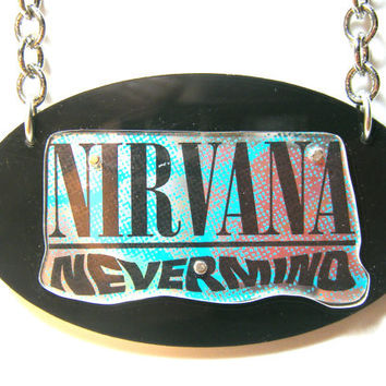Hand Cut Recycled Nirvana Nevermind cd Necklace
