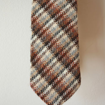 Wool Tie Plaid Brown Neutrals Vintage Tie