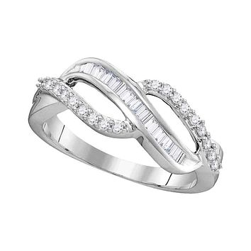 10kt White Gold Women's Round Baguette Diamond Open Crossover Band Ring 1/4 Cttw - FREE Shipping (US/CAN)