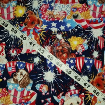 Patriotic fabric with dogs puppy fireworks terrier spaniel USA red white blue cotton print quilt sewing material to sew by the yard crafting