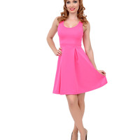 Neon Pink Sleeveless Heart Cut Out Scuba Knit Fit & Flare Dress