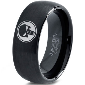 Punisher Inspired Black Dome Tungsten Ring