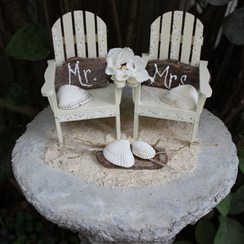 Unique Coastal Cake Topper Set , Beach Wedding,  Adirondak Chairs ,  Mr & Mrs Chairs , Rustic Beach Decoration