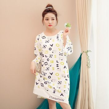 New Women Nightgown Sleepshirts Young Girl 2017 Women Sleepwear Summer Autumn Nightgown Print Loose Nightdress Casual Home Dress