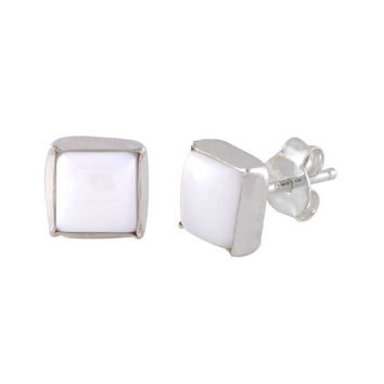 Sterling Silver Gemstone Earrings White Turquoise 7mm Square