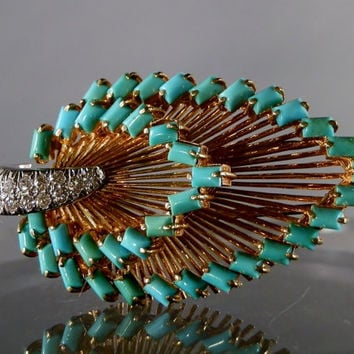 Tiffany and Co. 18k Gold Diamond and Turquoise Vintage Brooch.