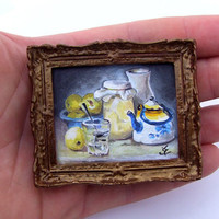 Miniature Original Painting  Doll House Still Life