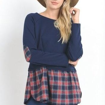Jodifl's Solid top with long sleeves and plaid elbow patches