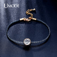 UMODE New Simple 1.5ct  CZ Crystal Gold Color Solitaire Rope