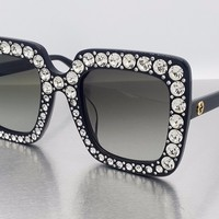 NEW GUCCI GG0148S-001 Black Rhinestones Women SUNGLASSES FREE SHIPPING!!!