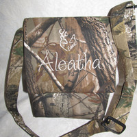 custom handmade realtree messenger camouflage purse your choice name or initials