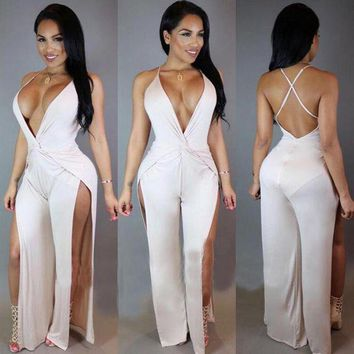 LMFIJ6 new year Free Shipping  2016 Sexy deep v halter cross suede Backless Black White JUMPSUITS