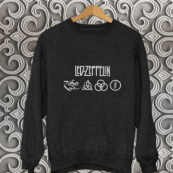 led zeppelin sweater Black Sweatshirt Crewneck Men or Women Unisex Size