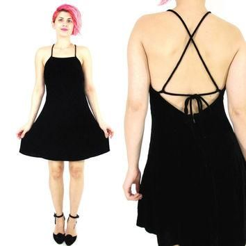 90s Black Velvet Mini Dress Criss Cross Back Dress Ralph Lauren Dress Silk Velvet Skat