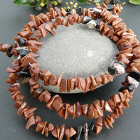 Gorgeous Goldstone Gemstones Memory Wire Wrap Bracelet Free Worldwide Shipping