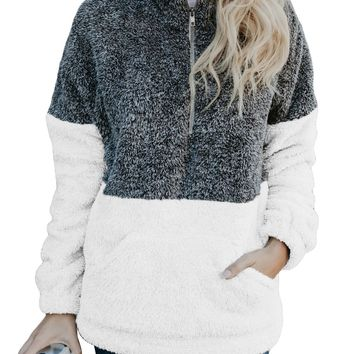 Women Charcoal White Zip Neck Oversize Fluffy Fleece Pullover