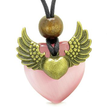 Angel Wings Double Lucky Heart Donut Amulet Magic Powers Pink Simulated Cats Eye Pendant Necklace