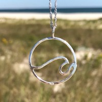 Sterling Silver Hammered Wave Necklace Pendant by Wave of Life
