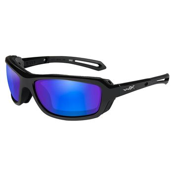 Wiley X Wave Sunglasses - Polarized Blue Mirror Green Lens - Gloss Black Frame [CCWAV09]