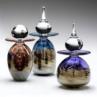 Metallic Vortex Series Perfume Bottles by Michael Trimpol: Art Glass Perfume Bottles | Artful Home