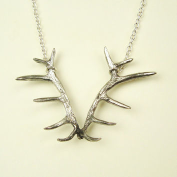 Wildlife: Deer Antler Necklace, Vintage Style Silver Antler Pendant Necklace, Nature Jewelry, Silver Antler Necklace