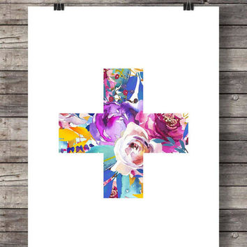 Printable art | Swiss Cross | Botanical hand painted | Scandi graphic  print |  printable wall art | Scandi decor | modern printable art