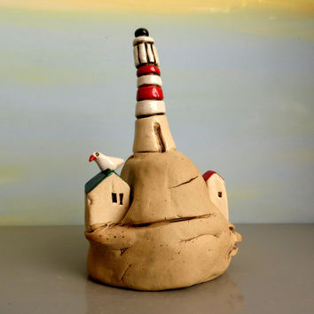 Miniature ceramic lighthouse , Dollhouse Lighthouse , miniature houses ceramic sculpture , ceramic lighthouse with a beach house , for him