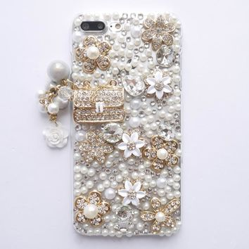 Dir-Maos For iPhone 8 Plus Case 5.5'' Diamond Pearl Luxury Lady Fashion Handbag Glitter Bling Cute Pendant Cover Lady Friend HOT
