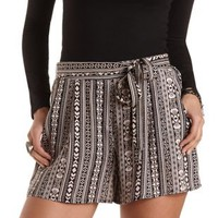 Sash-Belted Tribal Print High-Waisted Shorts