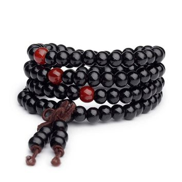 Vintage 6mm 108 Beads Natural Sandalwood Buddhist Buddha Wood Bracelets Meditation Prayer Bead Mala Bracelet Women Men Jewelry